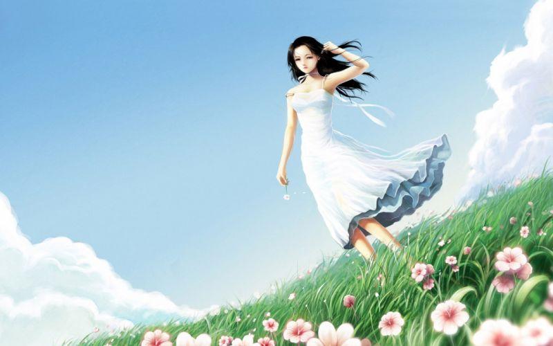 Arts girl wind field flowers dress wallpaper