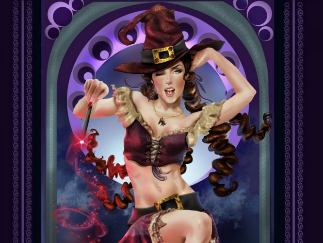 Arts girl witch hat magic wallpaper