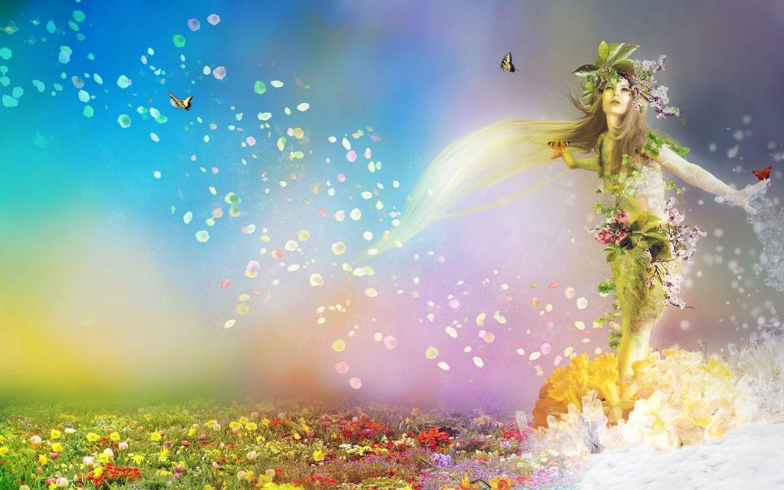 Arts spring nature flowers butterflies girl wallpaper