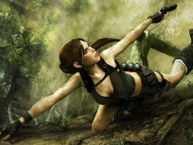 Arts tomb rider Lara Croft girl soldier weapon shooting wallpaper
