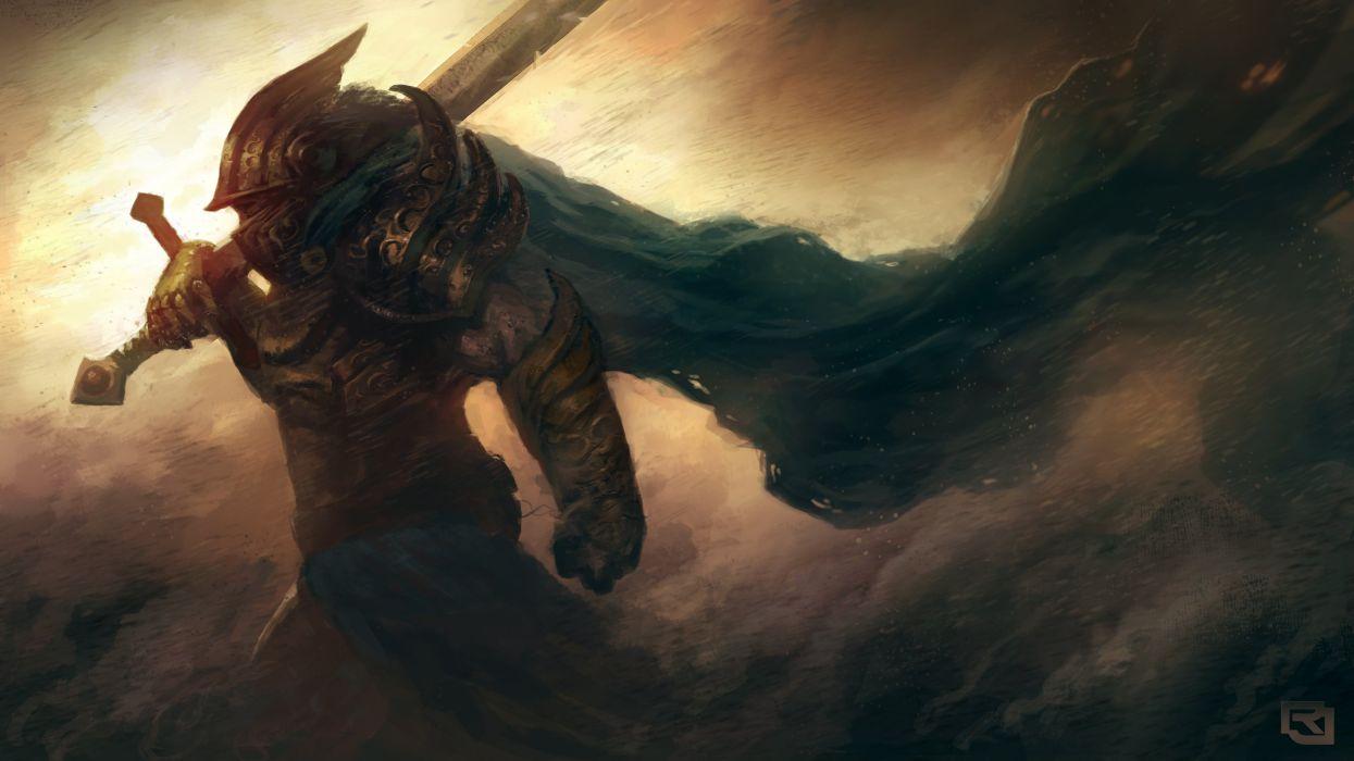 Arts warrior armor helmet sword wind storm wallpaper