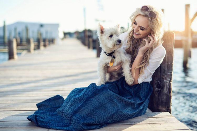 Photography girl dog beach marina photoshoot wallpaper