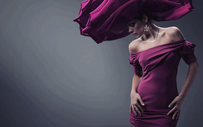 Photography girl model dress hat wallpaper