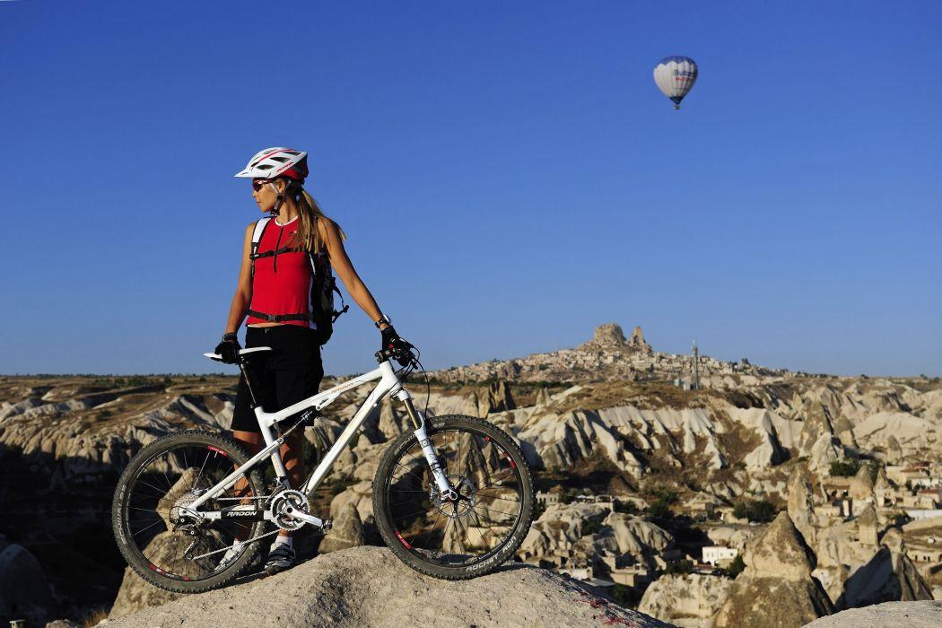 Sports cross country mountain bike girl wallpaper
