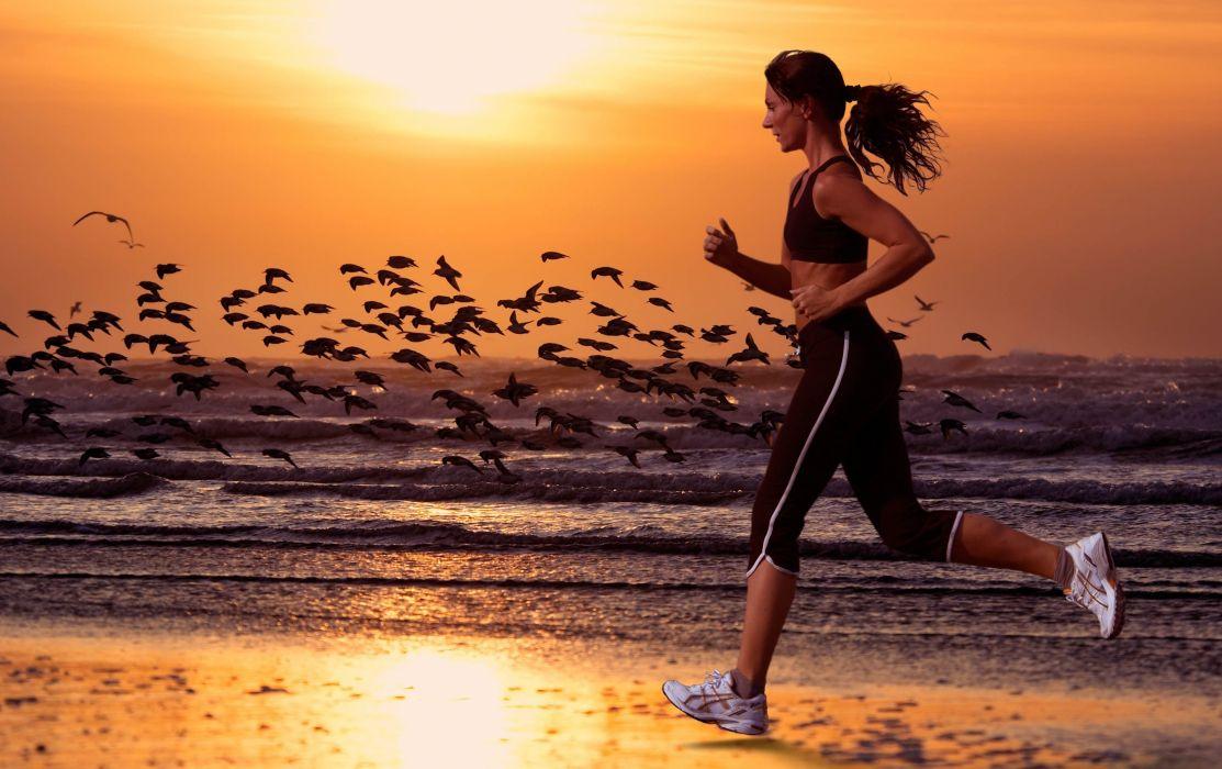 Sports girl running sea beach wallpaper