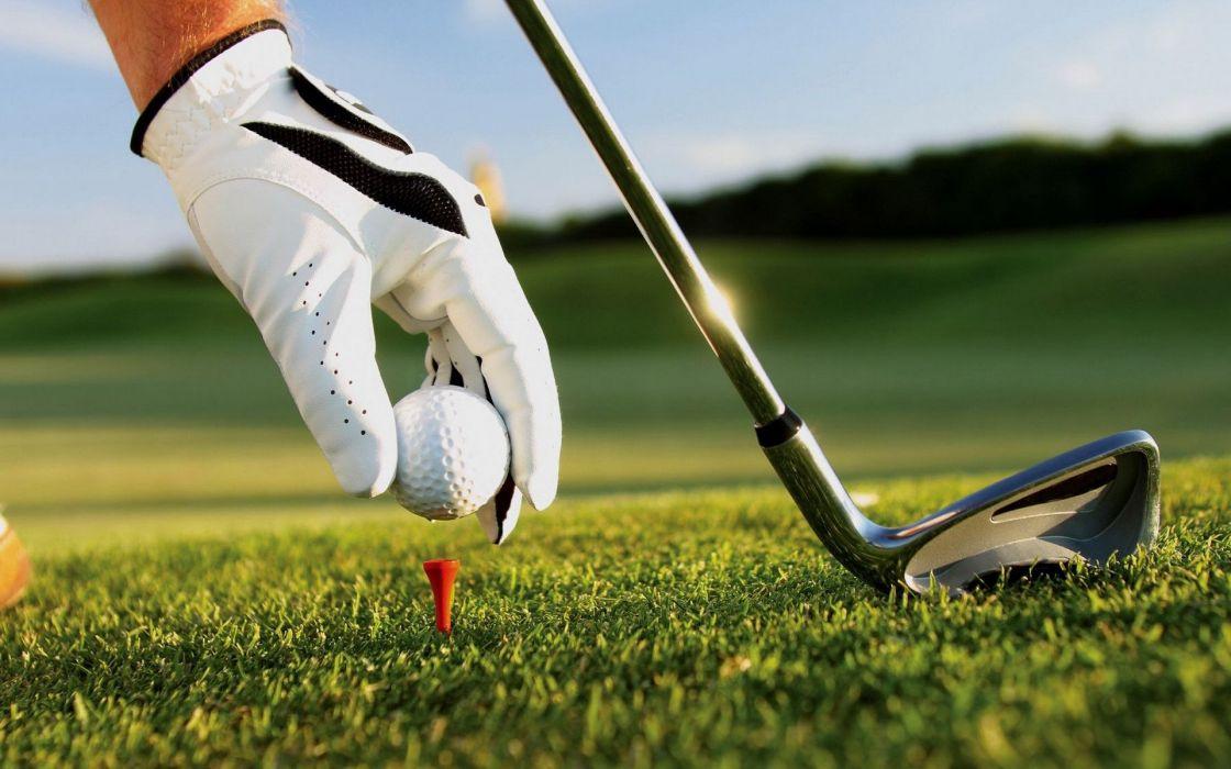 Sports golf ball club hand glove grass wallpaper