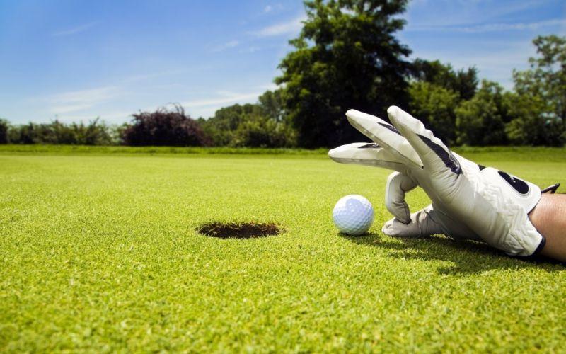 Sports golf hand ball hole lawn glove game wallpaper