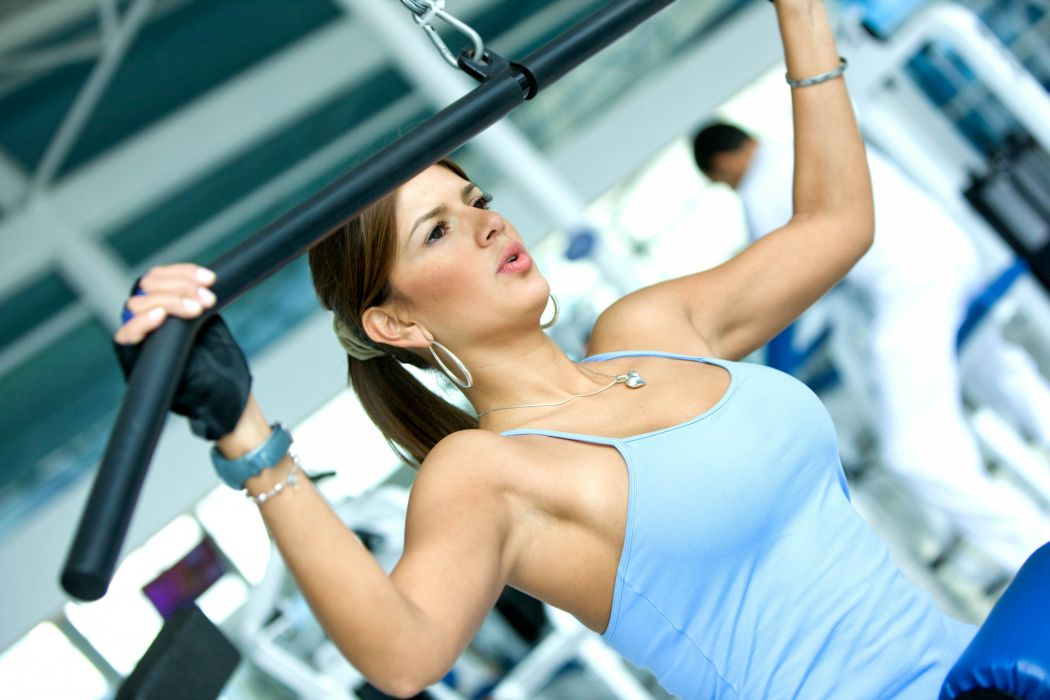 Sports hall trainer girl fitness wallpaper