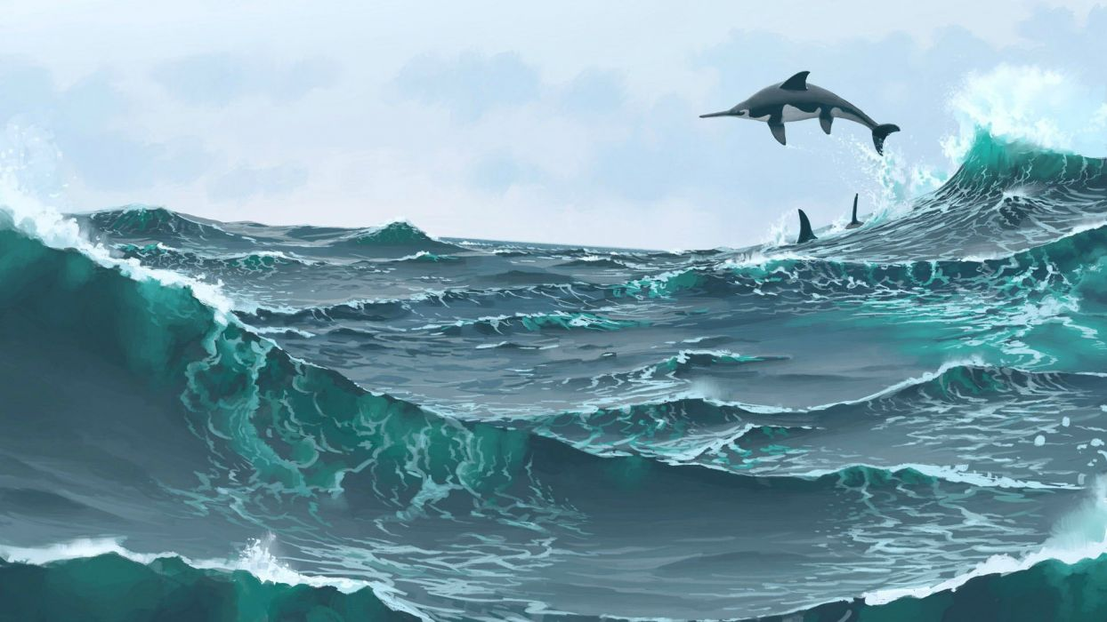 Dolphin ocean sea wave artwork wallpaper