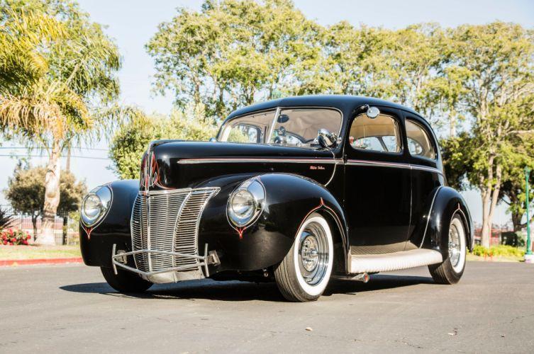 1940 Ford Tudor Sedan Two Door Hot Rod Hotrod Custom Kustom Old School USA -05 wallpaper
