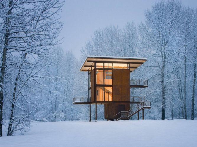Snow Cabin wallpaper