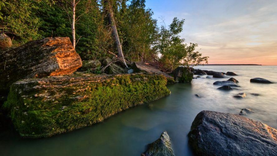 rio paisaje naturaleza casa wallpaper