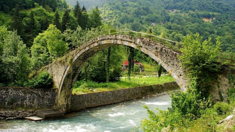 rio puente naturaleza paisaje wallpaper