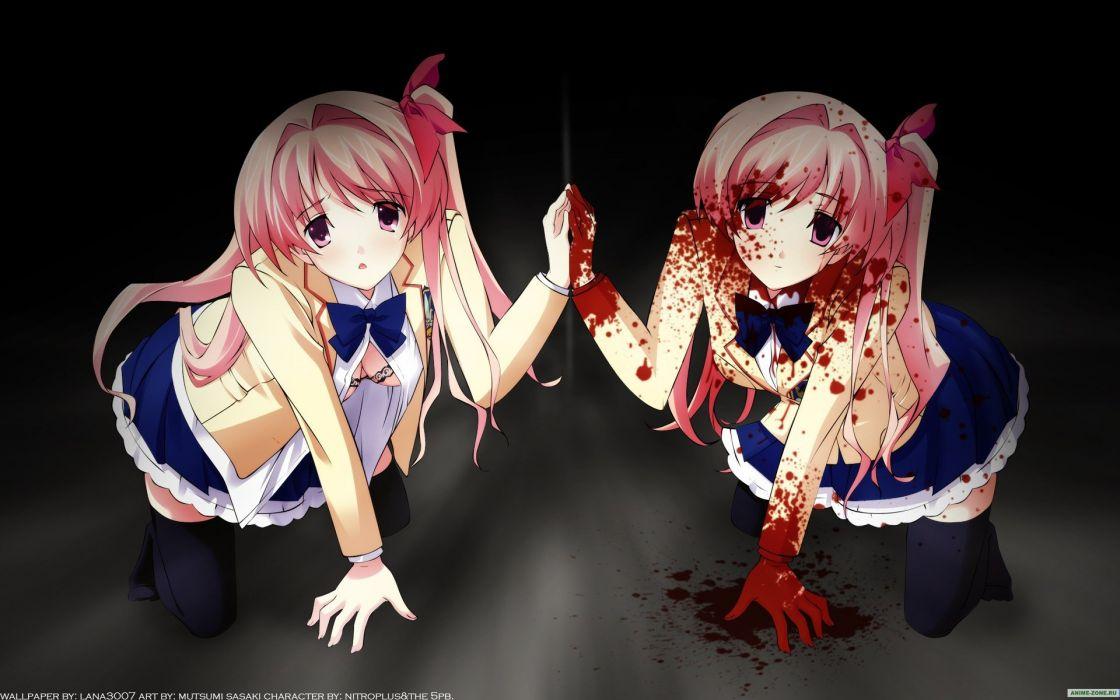 Anime girl pink hair bloody scool uniform wallpaper