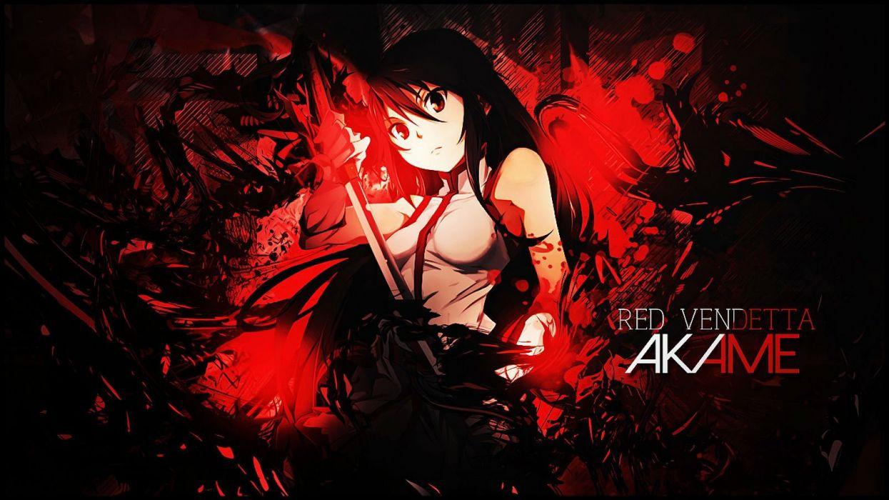 akame akame ga kill! akame ga kill! zero dark katana long hair photoshop red sword weapon wallpaper