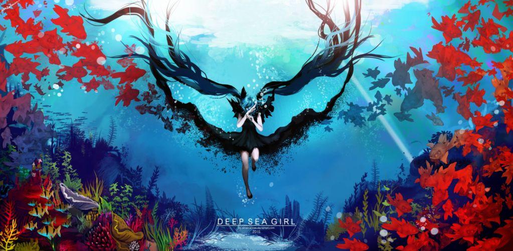 animal aqua hair arcan-anzas deep-sea girl (vocaloid) dress fish hatsune miku long hair twintails underwater vocaloid water wallpaper