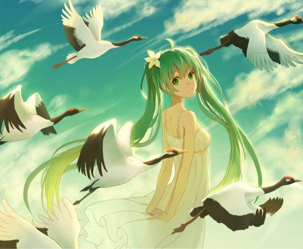 animal bird clouds green eyes green hair hatsune miku lan jue long hair sky summer dress twintails vocaloid wallpaper