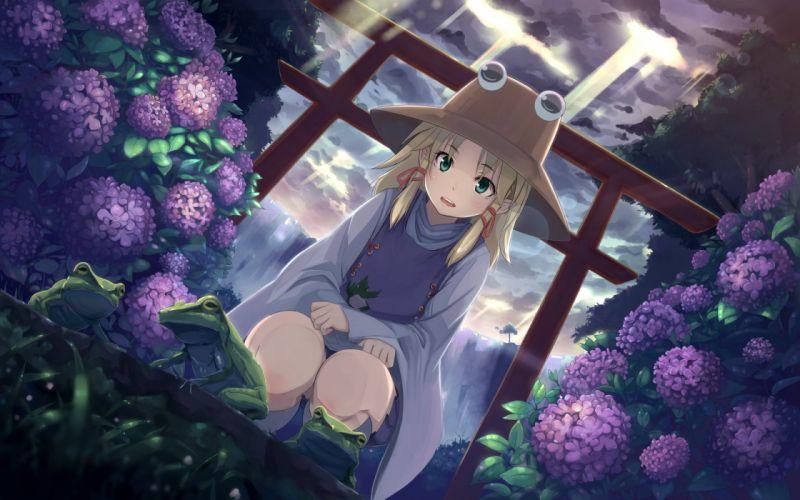 animal blonde hair buriterium clouds flowers frog green eyes hat moriya suwako sky torii touhou tree water waterfall wallpaper