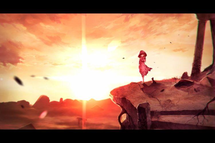 animal cat hoodie jpeg artifacts scenic sky sunakumo sunset wallpaper