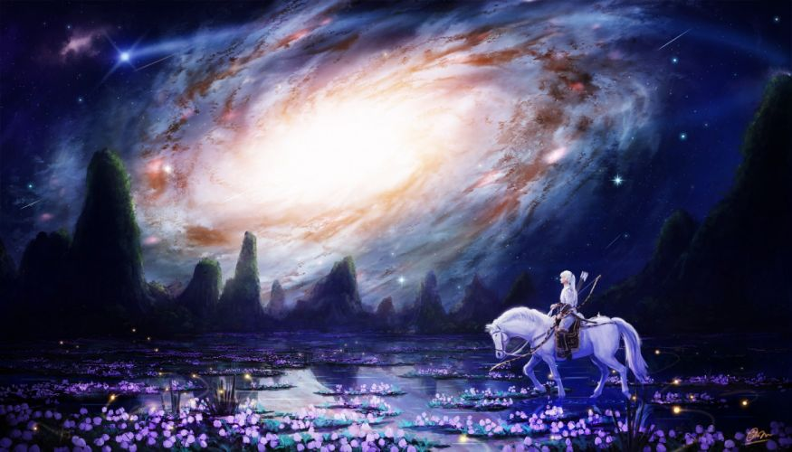 animal bow (weapon) flowers horse landscape long hair makkou4 night original scenic sky stars water weapon white hair wallpaper