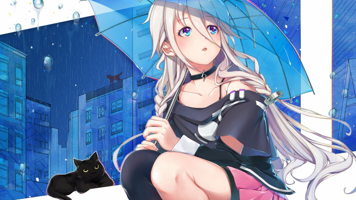 animal cat ia megumoke rain see through umbrella vocaloid water wallpaper