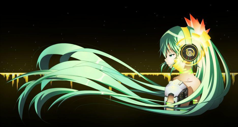 aqua eyes aqua hair aria dark hatsune miku headphones long hair techgirl twintails vocaloid wallpaper