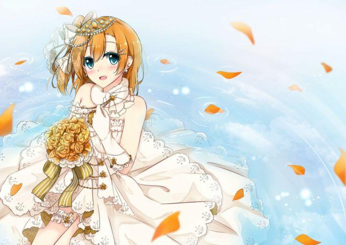 aqua eyes blush bow flowers gloves kousaka honoka long hair orange hair petals ponytail shiina kuro tiara water wedding attire wallpaper