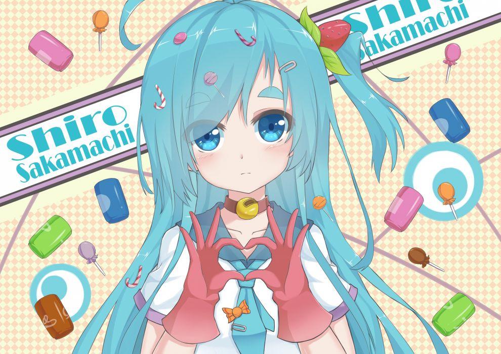 aqua hair blue eyes candy gloves l4no-shiro long hair original shiro sakamachi wallpaper