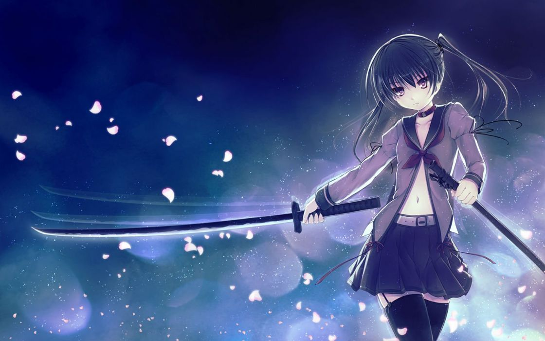 aruciii black hair blue choker garter belt katana long hair navel original petals purple eyes seifuku stockings sword thighhighs twintails weapon wallpaper