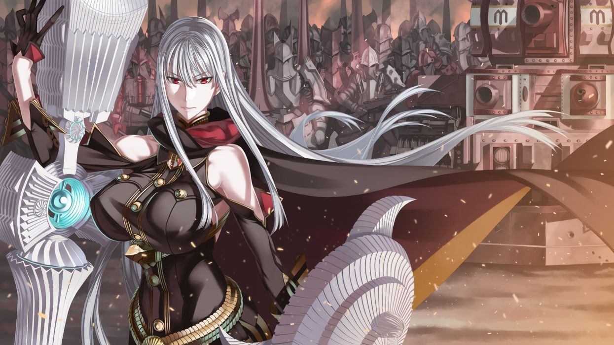 armor gray hair honjou raita long hair red eyes selvaria bles uniform valkyria chronicles weapon wallpaper