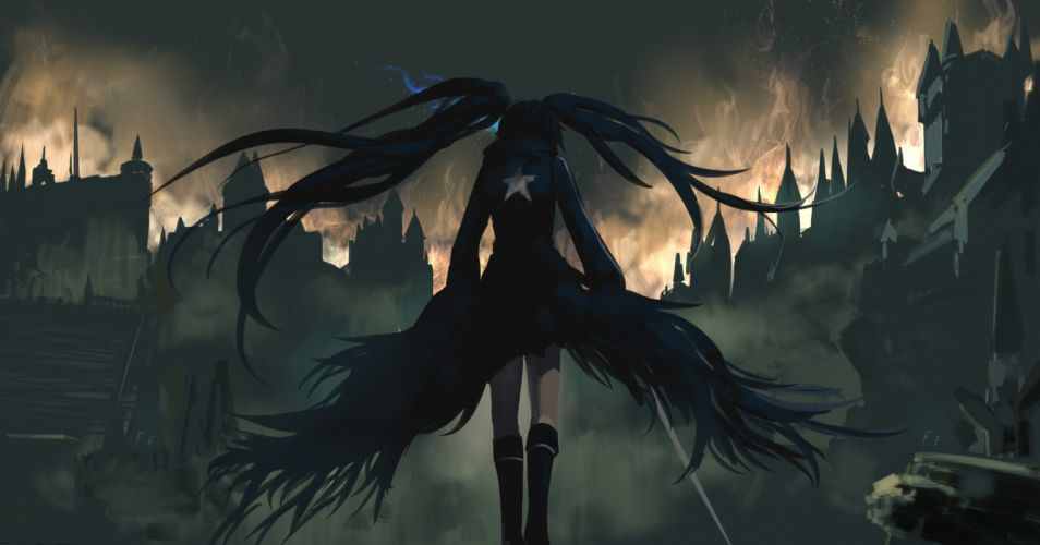 black hair black rock shooter bloodborne boots city crossover dark fire kuroi mato long hair otaku (artist) sword twintails weapon wallpaper