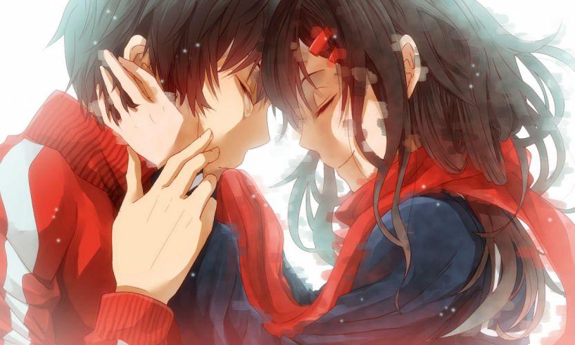 black hair close hug kagerou project kisaragi shintaro male nalwori scarf tateyama ayano tears wallpaper
