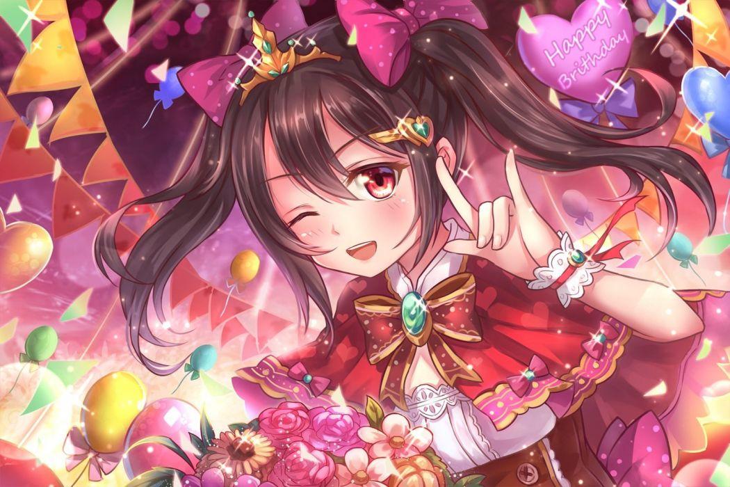 black hair flowers long hair love live! school idol project miazi red eyes twintails wink wristwear yazawa nico wallpaper