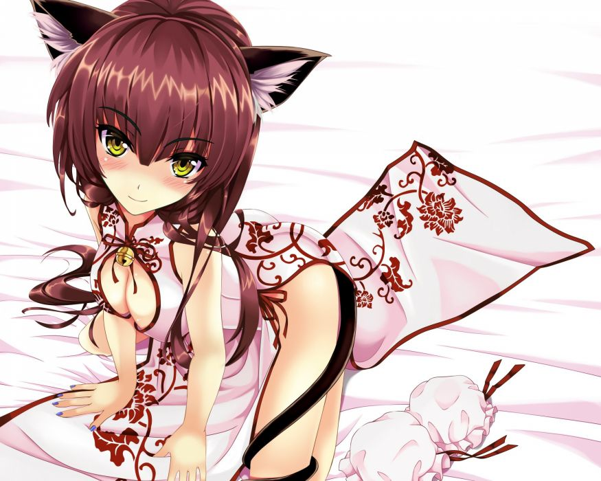 animal ears bell blush breasts brown hair catgirl chinese clothes chinese dress cleavage kitou kaitai nopan original tail yellow eyes wallpaper