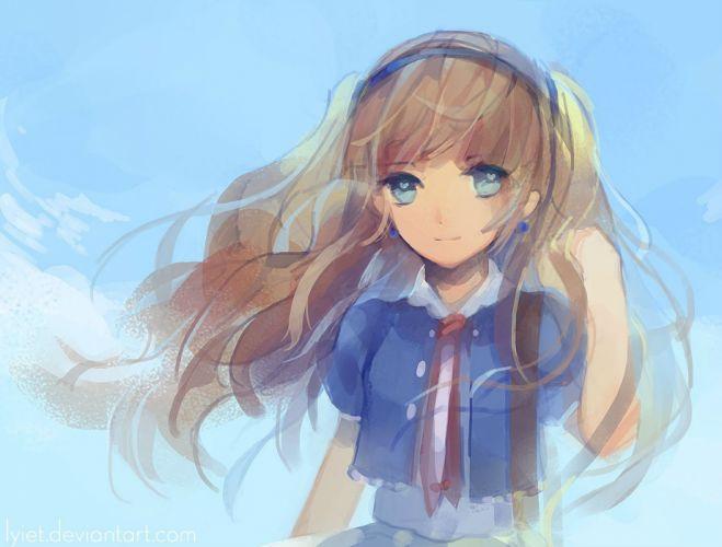 blonde hair blue blue eyes headband long hair lyiet original serena (meru) watermark wallpaper