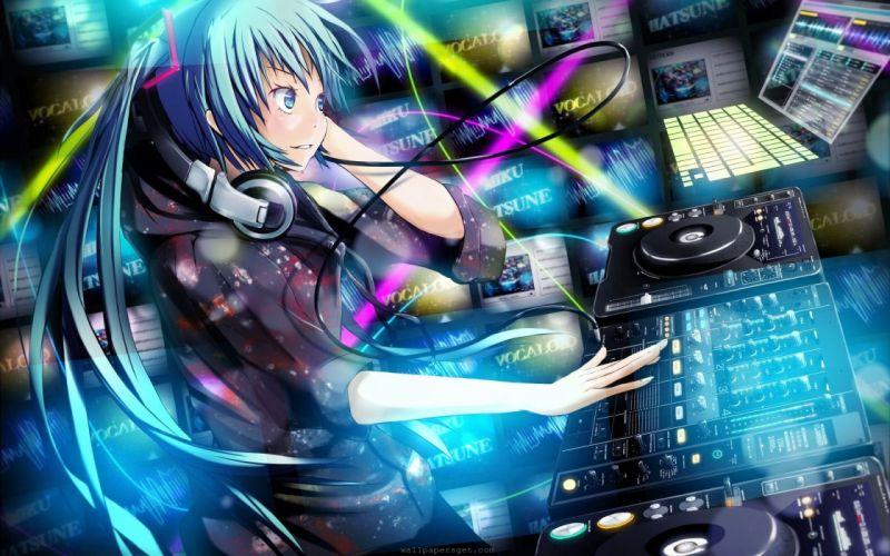 Hatsune Miku Vocaloid DJ wallpaper