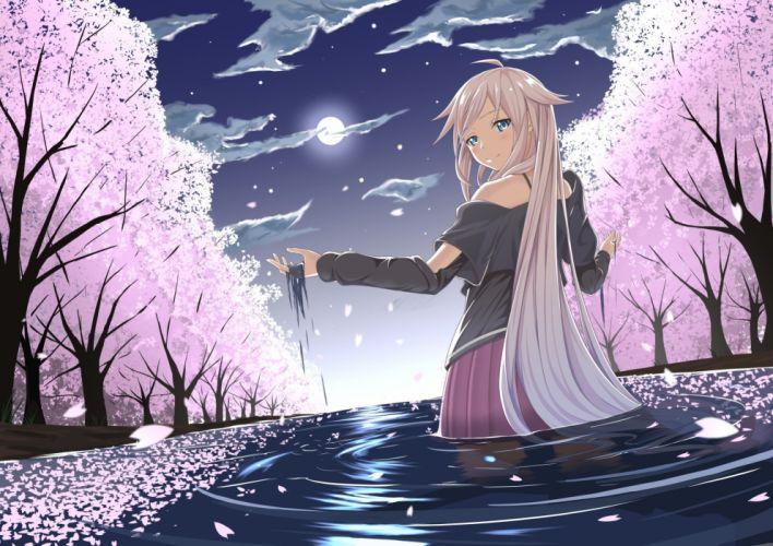 blonde hair blue eyes cherry blossoms clouds ia long hair moon petals sky sunset tsuhiki koyomi vocaloid water wet wallpaper