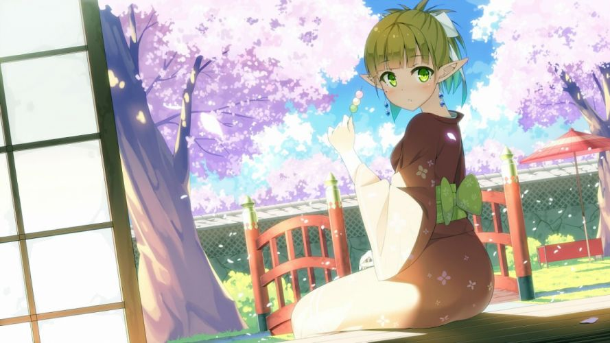 blonde hair cherry blossoms green eyes japanese clothes kaname 024 kimono phantasy star online 2 pointed ears scenic wallpaper