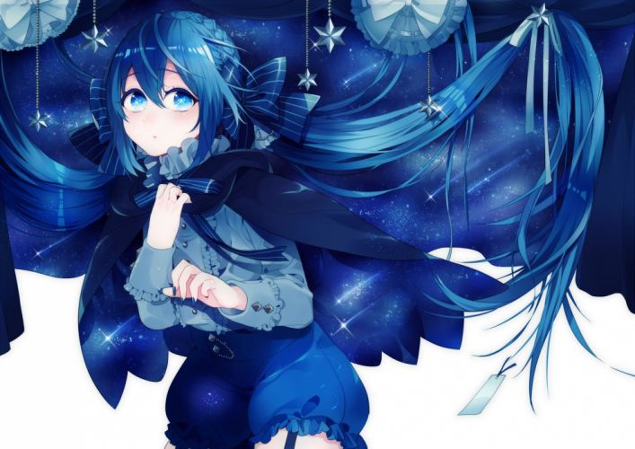 bloomers blue blue eyes blue hair bow braids cape hazuki mizuho long hair original wallpaper