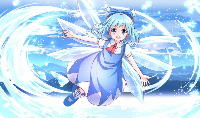 blue eyes blue hair bow cirno dress risutaru touhou wings wallpaper