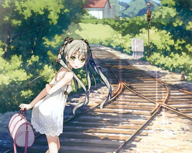blush building dress flat chest gray hair green eyes kantoku landscape leaves long hair original scan scenic summer dress train tree twintails wallpaper