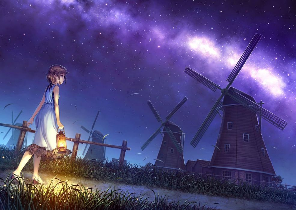 brown hair dress grass kurage (kurakurapix) night original sky stars windmill wallpaper