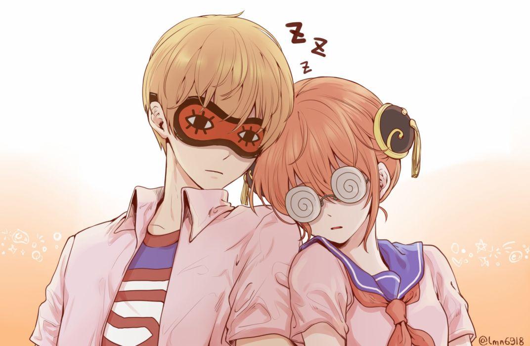 Gin Tama Kagura (Gin Tama) Okita Sougo Swirly Glasses Sleep Mask wallpaper
