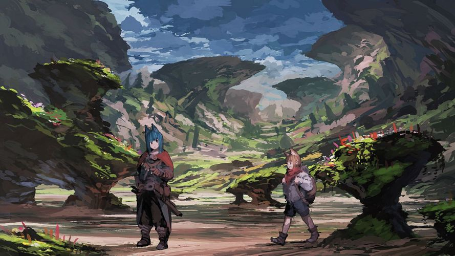 girls animal ears blue hair boots brown hair cape gloves jumpei99 landscape original scarf scenic wallpaper