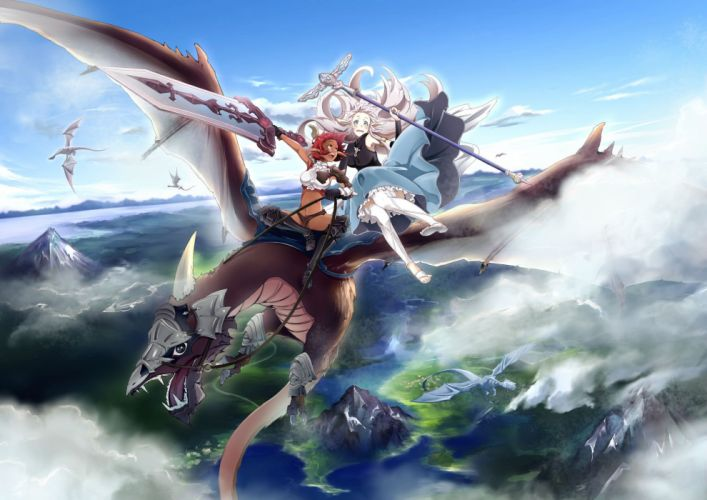 girls armor clouds conone dark skin dragon long hair original red hair sky staff sword weapon wallpaper
