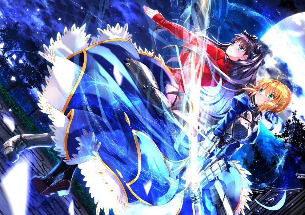 girls armor black hair blonde hair dress fate stay night moon night saber sword swordsouls tohsaka rin weapon wallpaper