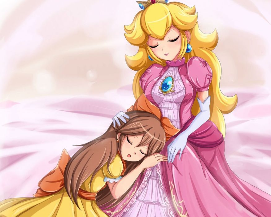 girls blonde hair brown hair crown dress elbow gloves long hair nintendo original princess peach sigurdhosenfeld sleeping super mario wallpaper