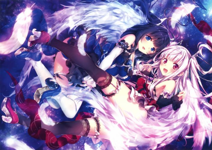 girls blue eyes breasts cleavage dress garter red eyes riichu scan stockings thighhighs twintails wings wallpaper