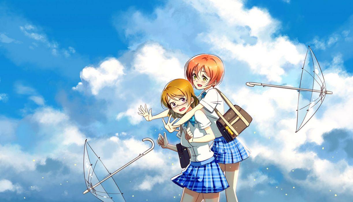 girls clouds glasses hoshizora rin koizumi hanayo love live! school idol project seifuku short hair skirt sky umbrella zhanzheng zi wallpaper