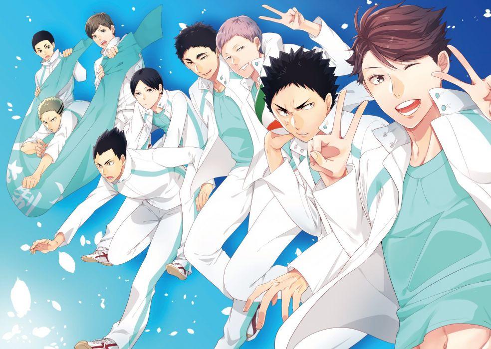 Haikyuu!! Kunimi Akira Watari Shinji (Hq!!) Iwaizumi Hajime Hanamaki Takahiro wallpaper